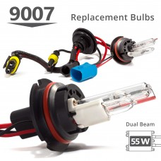 55W HID 9007 (HB5) Low Xenon/High Halogen AC Replacement Bulbs