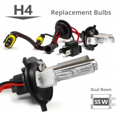 55W HID H4 (HB2) (9003) Low Xenon/High Halogen AC Replacement Bulbs