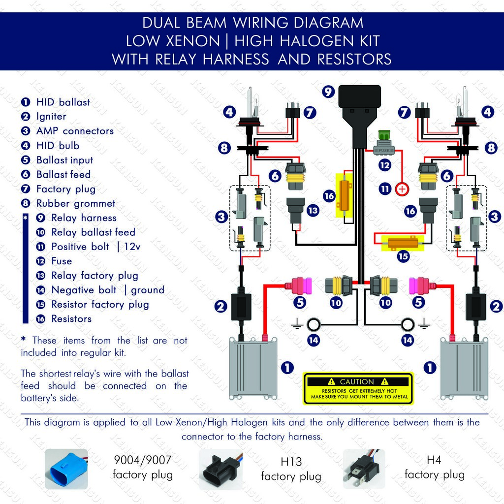 dual beam (Low Xenon/High Halogen) with relay harnest and resistors wiring  diagram. Bi-Xenon