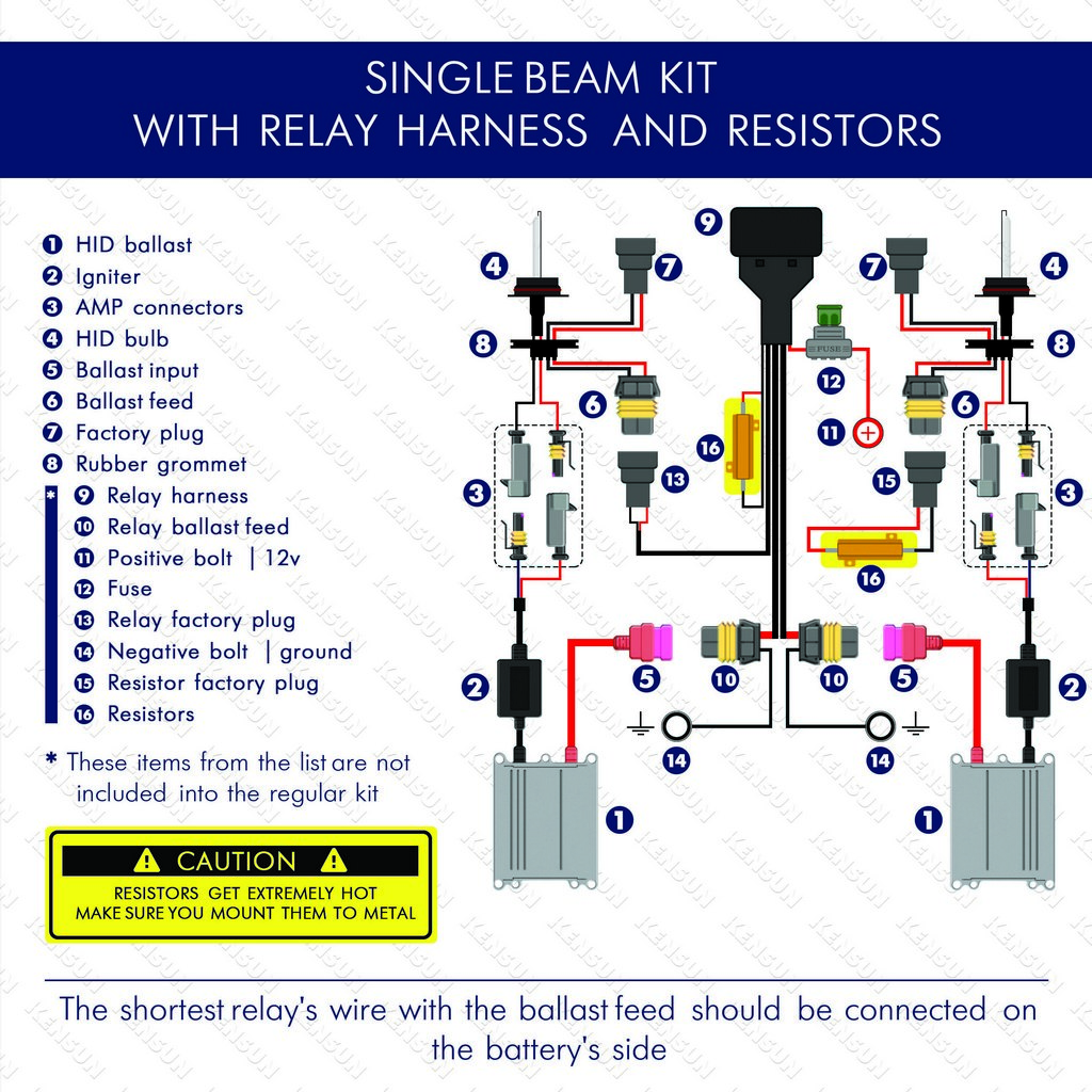 single beam with relay harnest and resistors wiring diagram